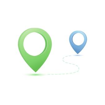 Gps-navigationsillustration mit kartenstiften