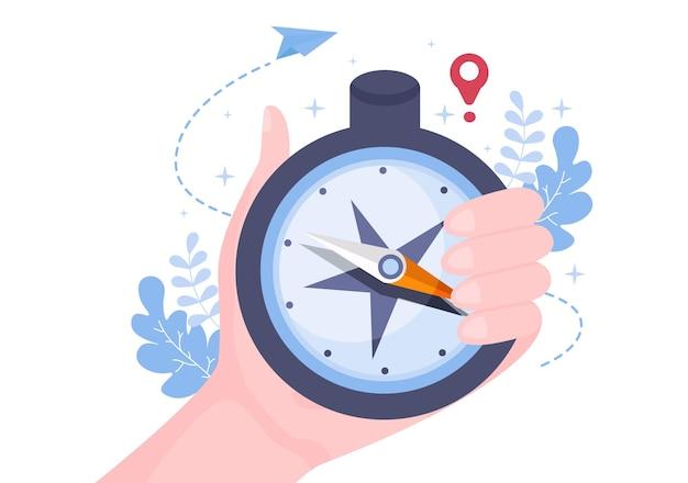 Gps-navigationskarte und kompass bei der standortsuche-anwendung zeigt die position oder route an, die sie fahren. hintergrund-vektor-illustration