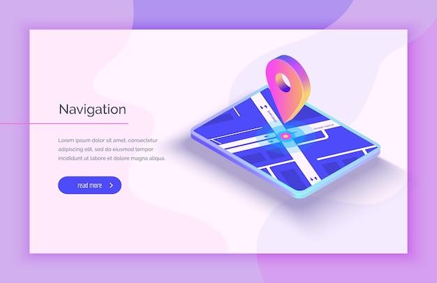 Gps-navigationssystem mobile anwendung für die navigation gps-smart-tracker mobiltelefon ist eine markierung auf der karte moderne vektorillustration im isometrischen stil