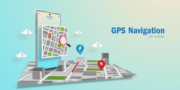 Gps navigator application concept, suchen sie eine richtung über die anwendung auf dem smartphone
