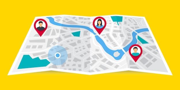 Gps-navigator. das konzept teilt seine geolokalisierung mit anderen. suche nach geolocation. verfolgen des standorts einer person mit einem telefon. kartennavigation mit punktmarkierungen. freunde-standorte