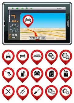 Gps-navigator mit dem zeiger-autoservice.