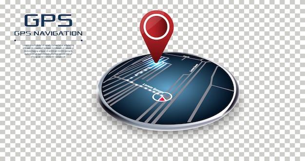 Gps-navigator-pin, der punkt zeigt, um rote farbe zu zeigen