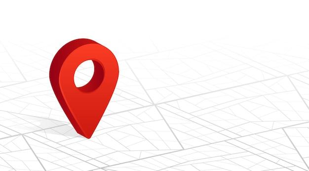 Gps-navigatorstift, der rote farbe auf weißem hintergrund der stadtstraßenkarte überprüft. vektor-illustration.