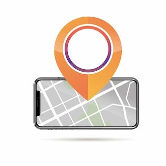 Gps-pin-symbol-modell und handy mit straßenkarte auf dem bildschirm