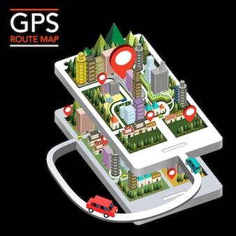 Gps-routenkarte flache isometrische 3d-infografik mit stadtszene, die vom smartphone angezeigt wurde