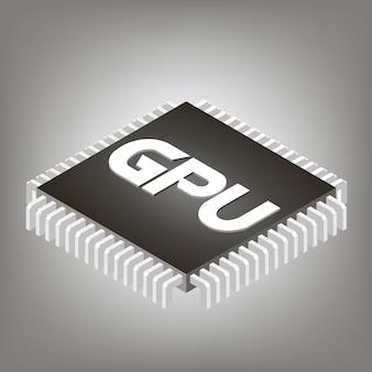 Gpu-ikone, gpu-bildzeichen, gpu-netzikone, gpu-ikonenvektor, gpu-ikone env, gpu-ikonenillustration.