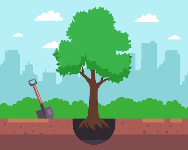 Grabe ein loch mit einer schaufel und pflanze einen baum auf dem hintergrund der stadt. illustration