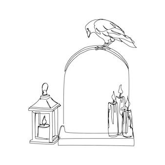 Grabstein mit krähe und retro-kerzenhalter mit kerzen eine linie kunst kontinuierliche linie von halloween