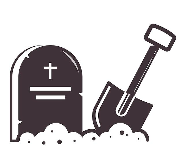 Grabsymbol mit einer in den boden gesteckten schaufel. symbol auf weißem hintergrund