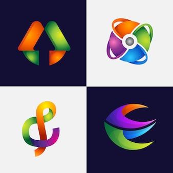 Gradient abstract logo design set