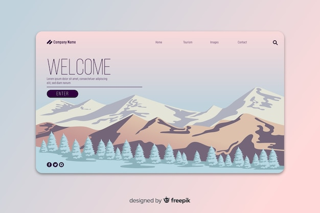 Gradient abstract welcome landng page