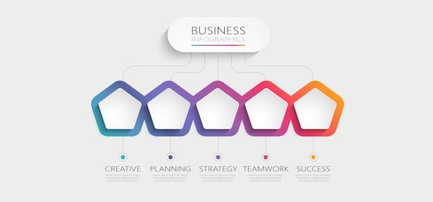 Gradient abstrakte 3d-infografik-vorlage mit optionen für broschüre