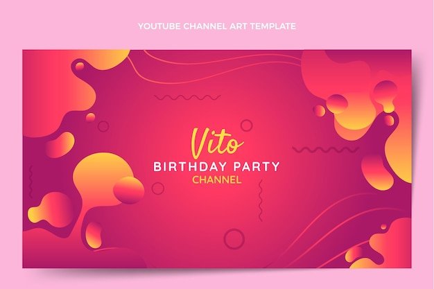 Gradient abstrakte flüssige geburtstags-youtube-kanalkunst
