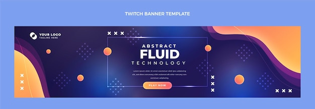 Gradient abstrakte flüssige technologie zuckendes banner