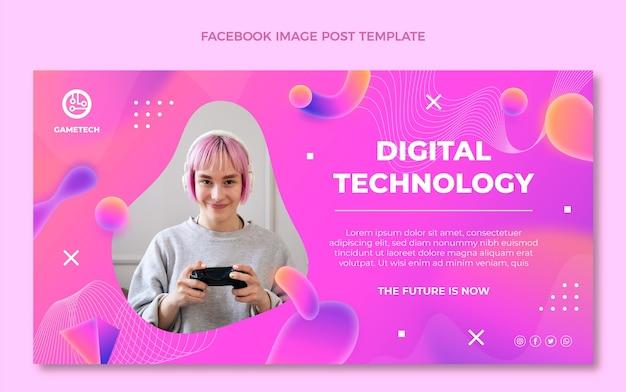 Gradient abstrakte flüssigkeitstechnologie facebook-post