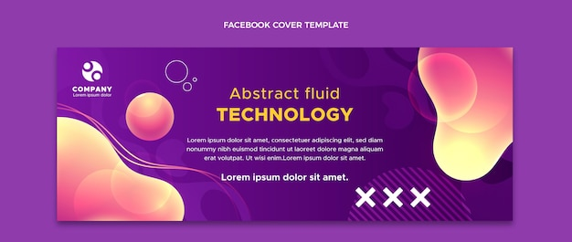 Gradient abstrakte flüssigkeitstechnologie-social-media-cover-vorlage