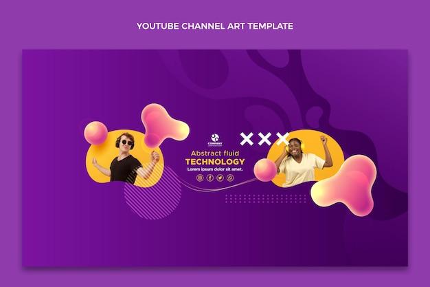 Gradient abstrakte flüssigkeitstechnologie youtube-kanalkunst