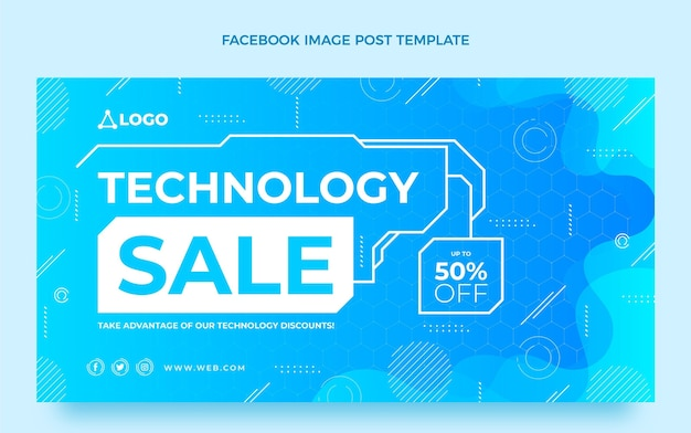Gradient abstrakte technologie facebook-post