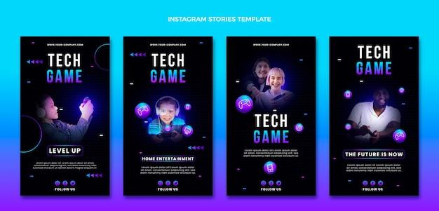 Gradient abstrakte technologie instagram-geschichten