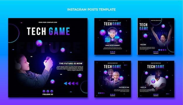 Gradient abstrakte technologie instagram-post