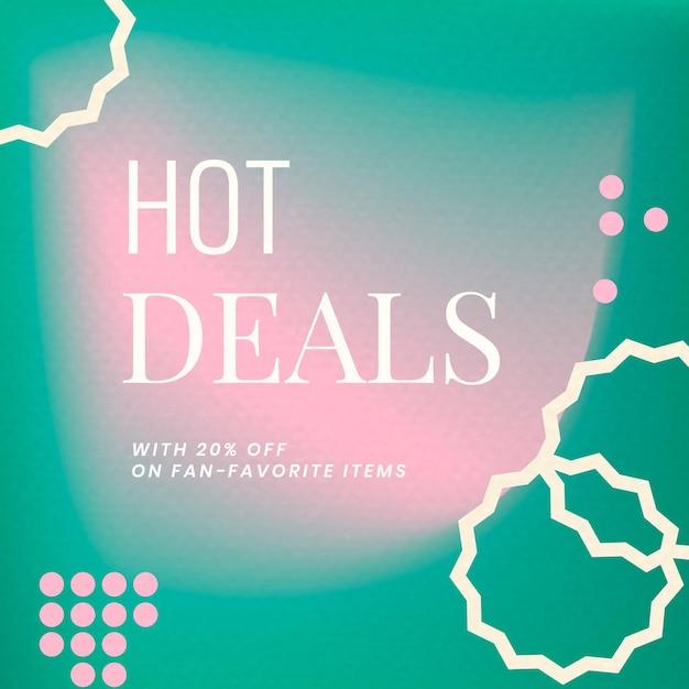 Gradient abstrakter memphis-vorlagenvektor-social-media-post mit hot deals-text