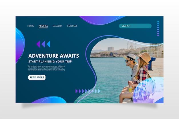 Gradient adventure landing page mit foto