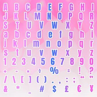 Gradient alphabet zahlensymbolsatz