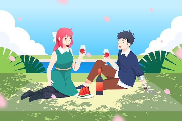 Gradient anime-leute, die ein picknick machen