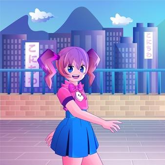 Gradient anime mädchen, das die straße entlang geht