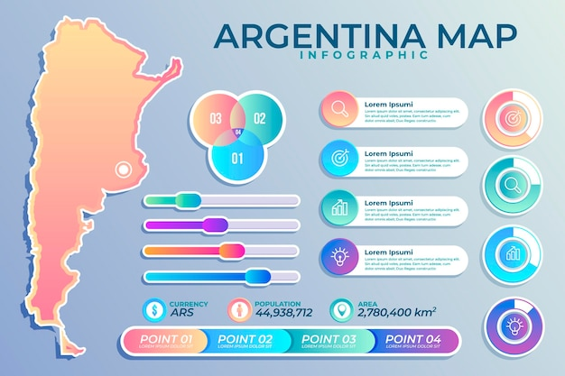 Gradient argentinien karte infografik