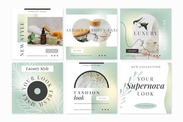 Gradient beauty instagram story set