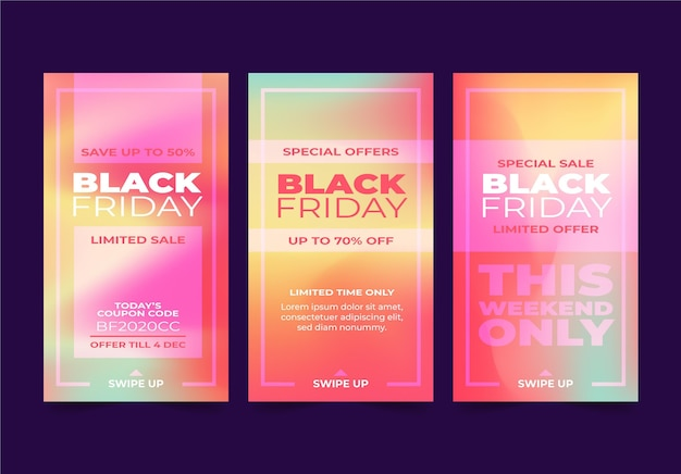 Gradient black friday instagram geschichten sammlung