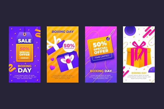 Gradient boxing day sale instagram stories collection