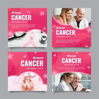Gradient brustkrebs-bewusstseinsmonat instagram postet sammlung mit foto