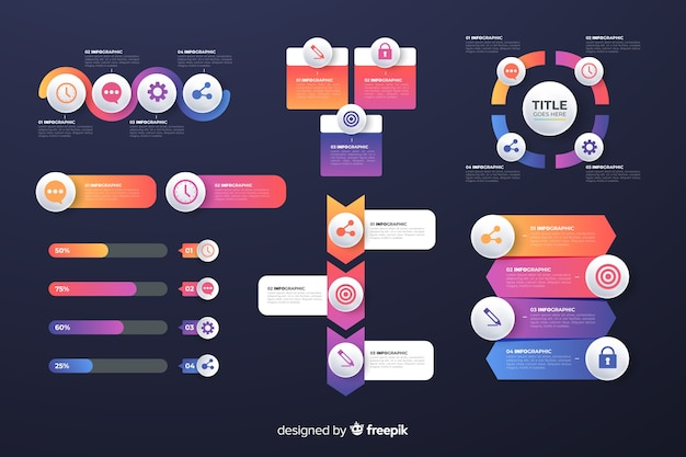 Gradient business infografiken elemente pack