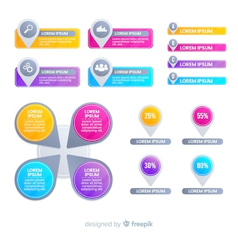 Gradient business infografiken elementsatz