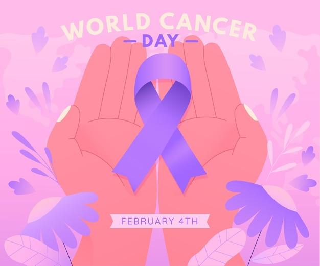 Gradient cancer day ribbon in persönlichen händen