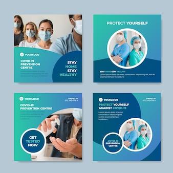 Gradient coronavirus instagram post sammlung Kostenlosen Vektoren
