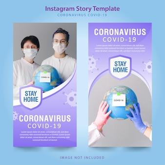 Gradient coronavirus instagram story-sammlung