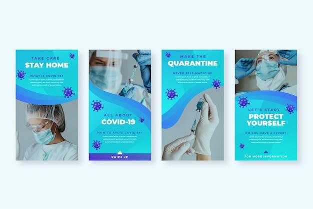 Gradient coronavirus instagram story set Kostenlosen Vektoren