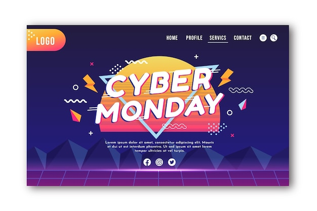 Gradient cyber monday landing page