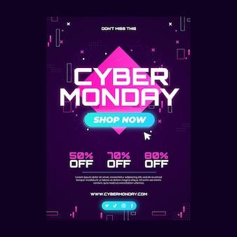 Gradient cyber monday poster-vorlage mit farbverlauf