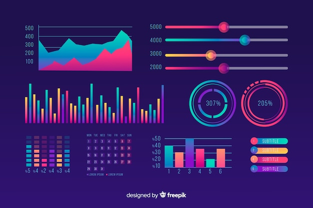 Gradient dashboard element sammlung vorlage