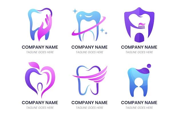Gradient dental logo pack