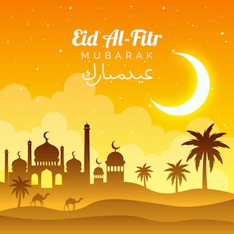 Gradient eid al-fitr illustration