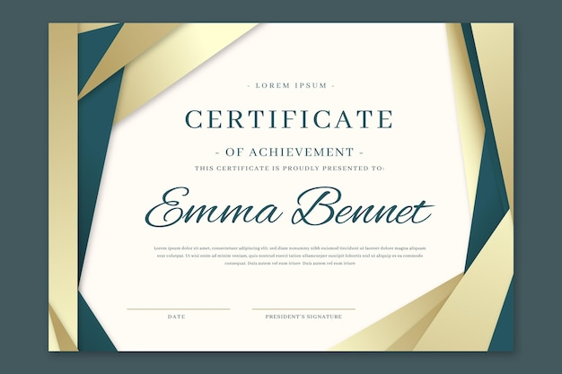 Gradient elegantes zertifikat der leistungsvorlage