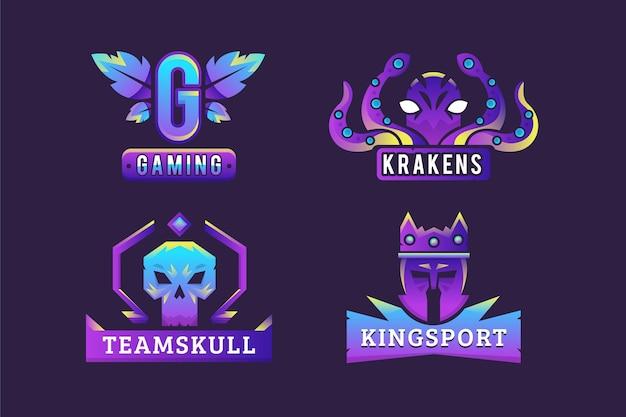 Gradient esports gaming logo sammlung