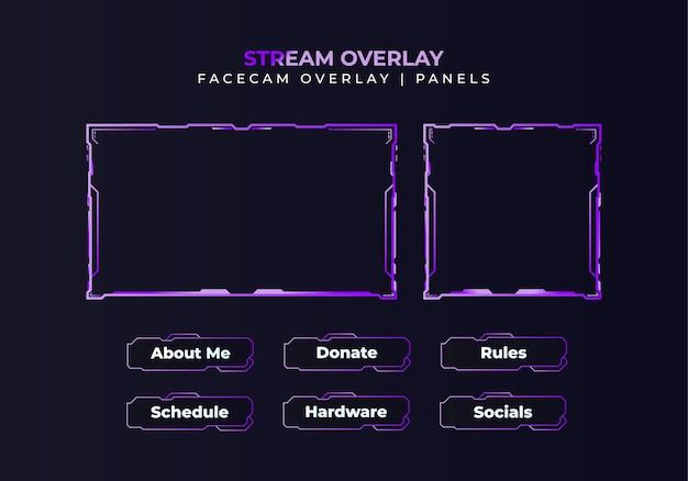 Gradient facecam overlay, panels, zuckendes paketdesign für stream