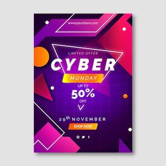 Gradient futuristische cyber monday vertikale postervorlage